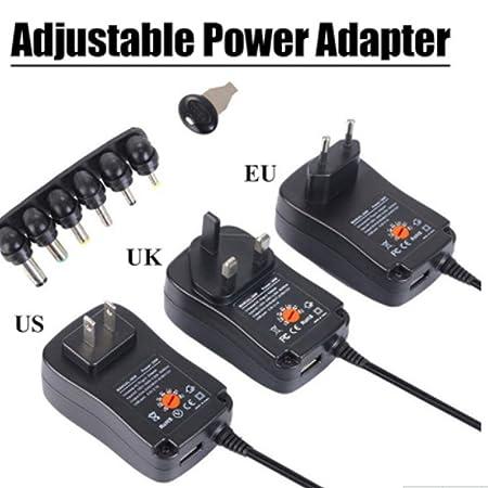 12V 1.5A Ajustable 6V 4.5V 7.5V vbncvbfghfgh VBNC Fuente de alimentaci/ón 30W Adaptador Universal AC//DC 3V 9V