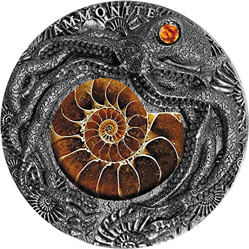 Power Coin Ammonite Fosil Ambar 2 Oz Moneda Plata 5$ Niue 2019