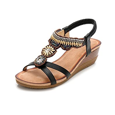 488e2fcfdf1 GIY Women s Bohemian T-Strap Wedge Sandals Open Toe Comfort Embellished  Bling Beads Platform Dress