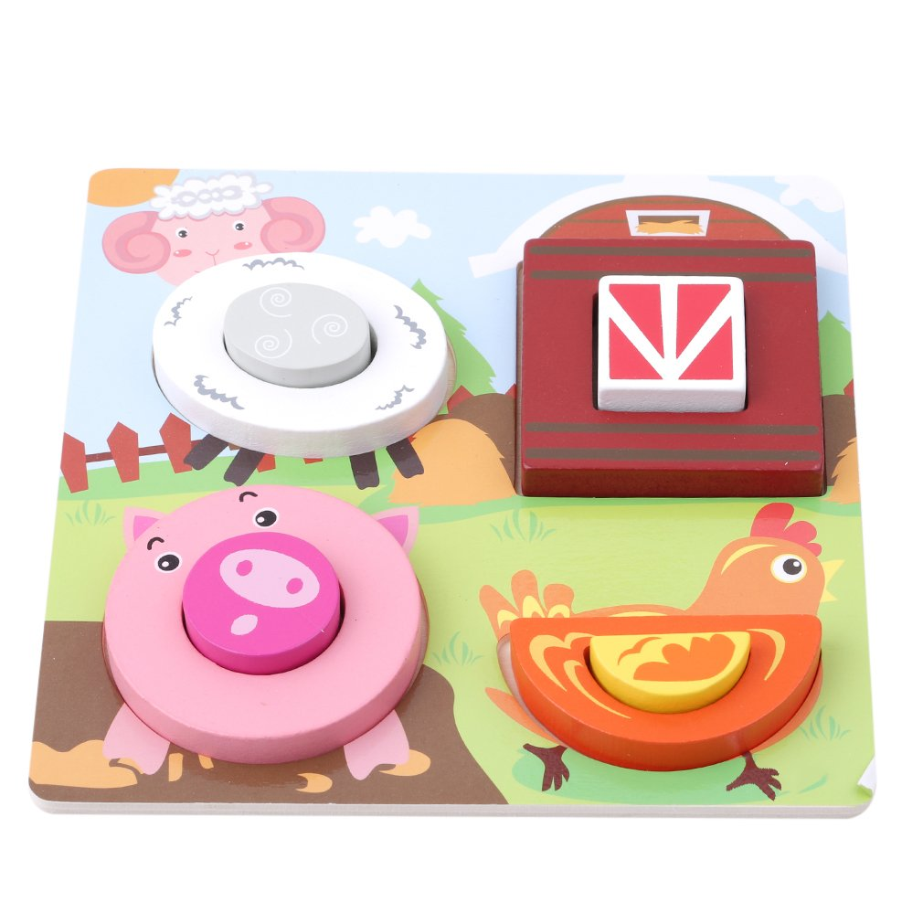 Dolland Chunky Wooden Jigsaw Puzzle Set and Play Pieces with Wooden Assembly Tray Educational and Interactive,Piggy Farm Fun
