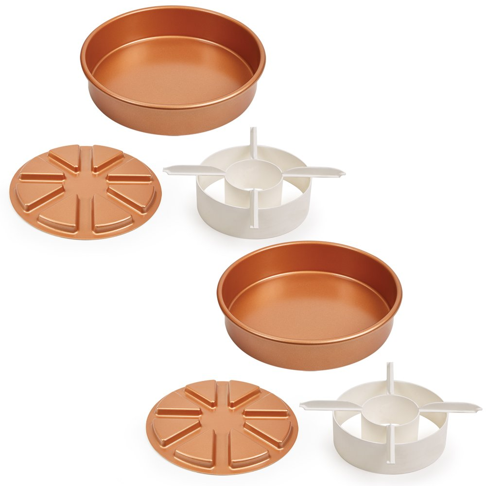 Copper Chef Perfect Cake Pan 3 PC set BOGO- (2) 9 X 9 Cake Pan with 2 Magic Middle Pockets and 2 Magic Middle Cake Cutters