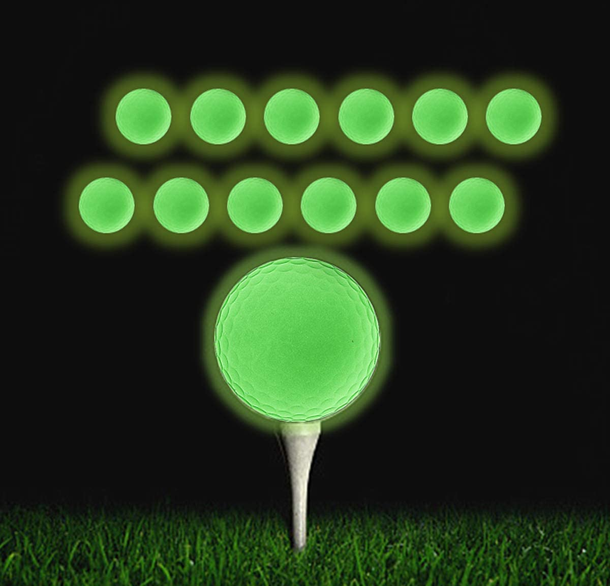 Glow in The Dark Golf Balls QBOSO Rechargeable Glow Golf Balls , More Fun at Night and Make Your Every Shot Counts 12 Pack