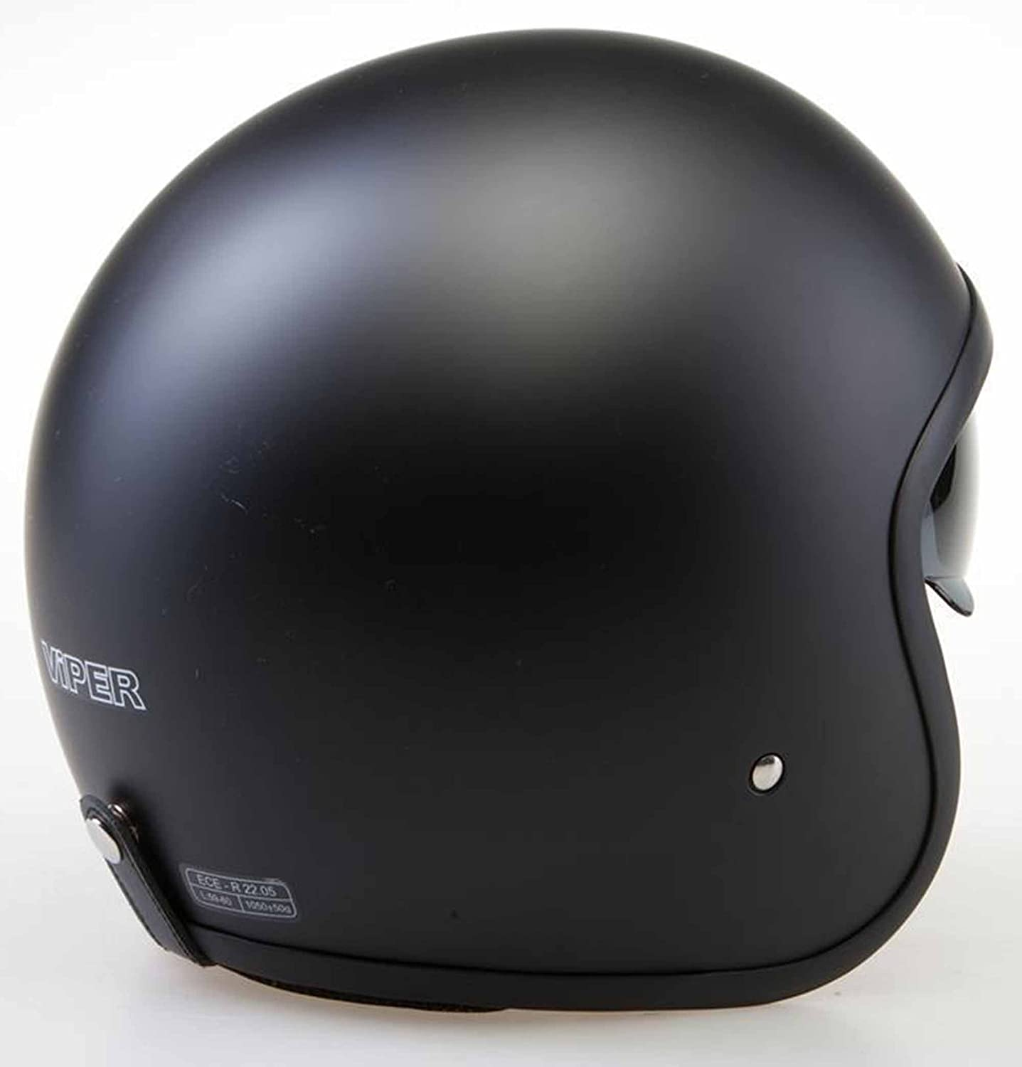 Viper ECE22.05 Approved Motorcycle Motorbike Moped Cruise Touring Travellers Helmet Open Face Jet Matt Black