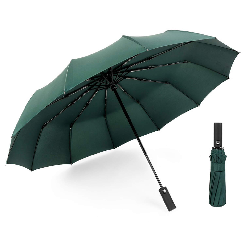 con y Apertura y Cierre Autom/ático Paraguas Plegables Moda Mujer y Hombre 12 ribs Paraguas Plegable Automatico Portatil verde oscuro Paraguas de Viaje Resistente Viento Impermeable Compacto