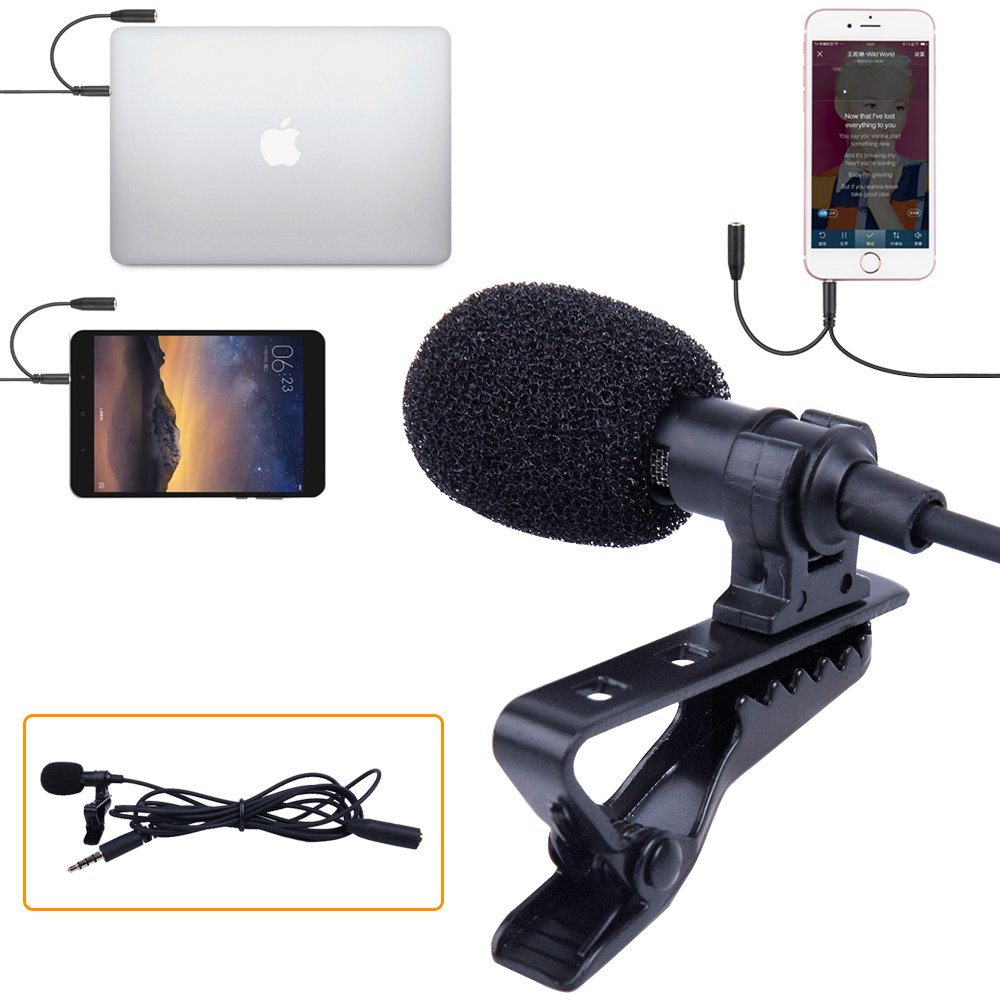 SUPON Lavalier Lapel Microphone Omnidirectional Condenser Mic with Headphone jack 3.5mmCompatible for iPhone, Android &Windows Smartphones,Youtube,Interview,Studio,Video Recording,Noise Cancelling 4330238638