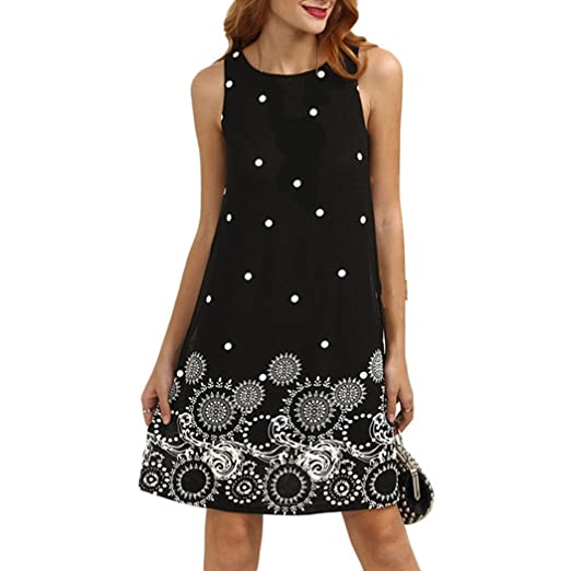 Lananas 2018 Women Summer Dress Vintage Floral and Polka Dot Print Sleeveless Beach Vest