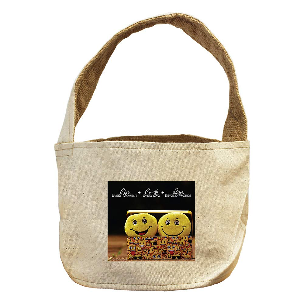 Style in Print Smilies Laugh Everyday Canvas and Burlap Storage Basket