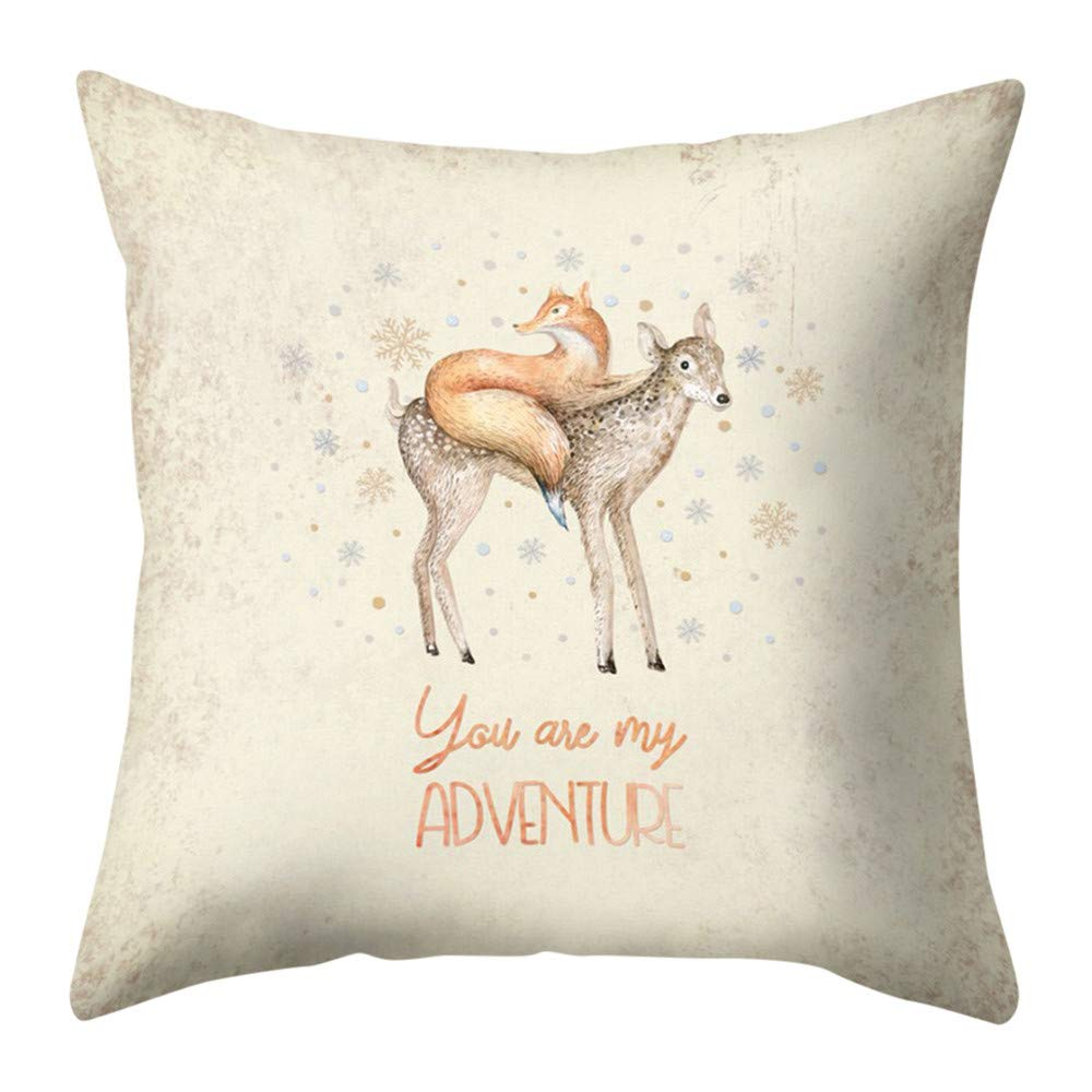 Pgojuni Cotton Linen Christmas Pillow Cover Pillowcases Linen Sofa Pillowcase Cotton Linen Decoration Throw Pillow Cover Cushion Cover for Sofa/Couch 1pc (A)