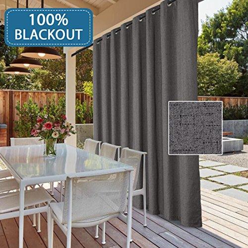 H.VERSAILTEX Rich Linen Patio Outdoor Curtain Panel Sliding Glass Door Waterproof Curtain- 100% Blackout Wider Curtains Energy Saving Sliding Door Drapes (Grey, 100