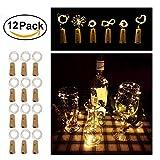 12 Packs Wine Bottle String Lights , LJEX 20 LED 2M Cork Lights for Bottle, Copper Wire Starry Fairy Bottle Lights for DIY, Party, Decor, Christmas, Halloween,Wedding(Warm White)