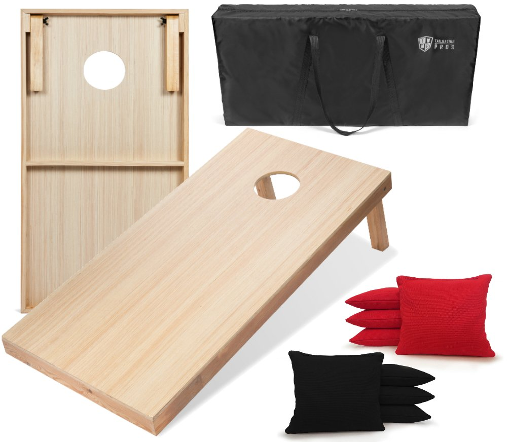 Tailgating Pros 4'x2' WoodGrain Finish Cornhole Boards w/Carrying Case & set of 8 Cornhole Bags (YOU PICK COLOR) 25 Bag Colors! (Black/Red)
