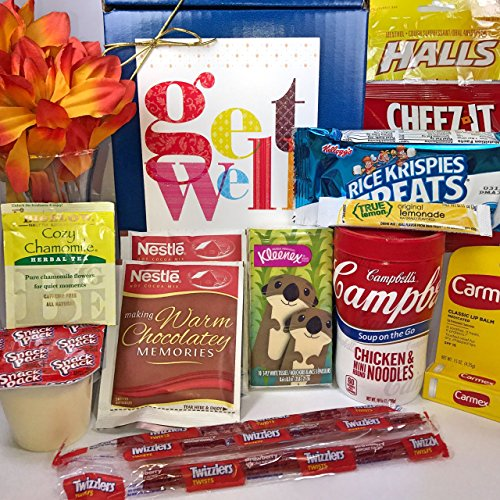 Get Well Gift Box Basket   For Cold   Flu   Illness   Over 2 5 Pounds Of Care  Concern  And Love   Great Care Package   Send A Smile Today