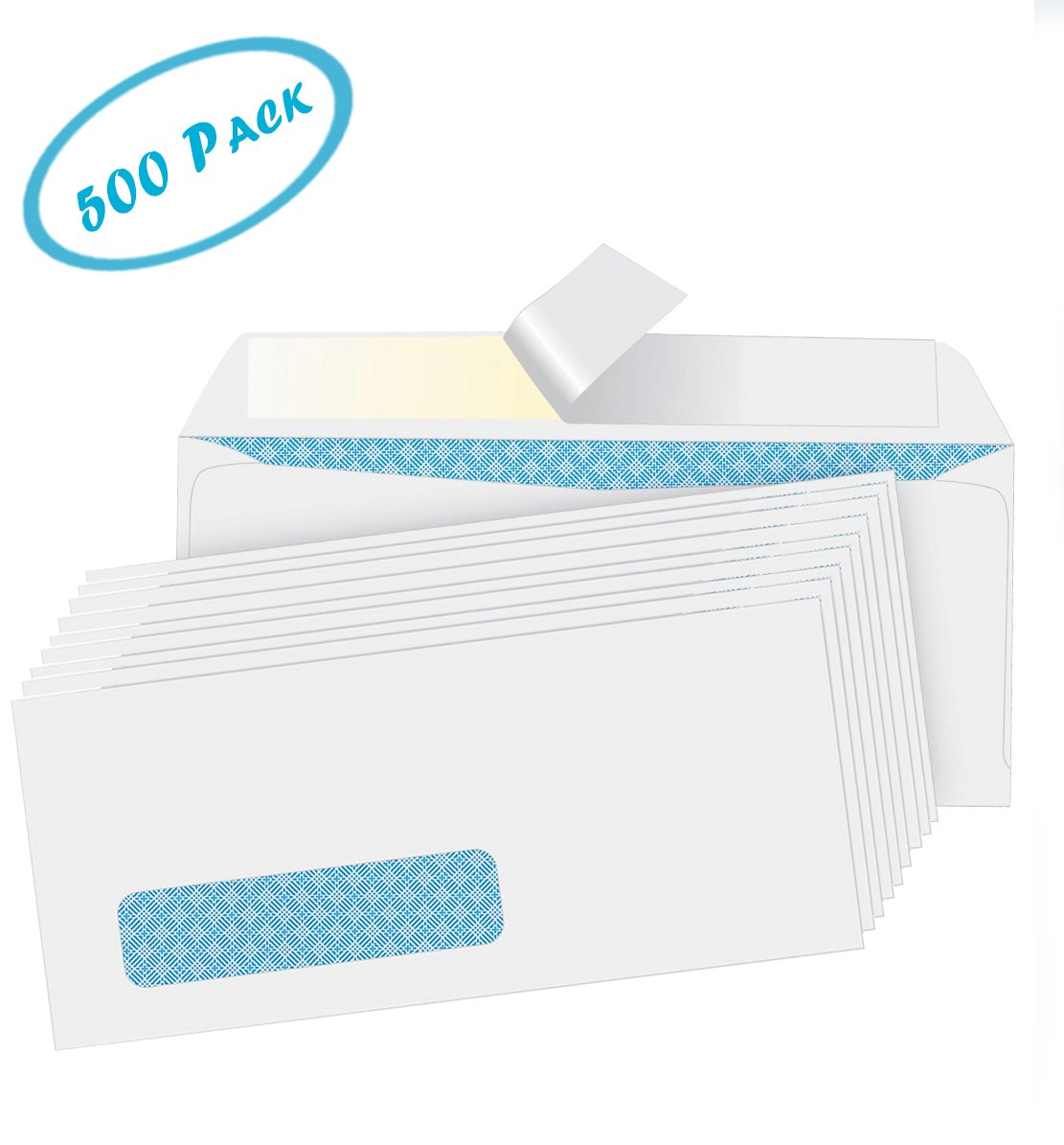 #10 White Envelopes - Security Tint, Self-Seal Envelopes - No Moisture Required - Left Window - Ideal for Home, Office - Quick-Seal Closure - 4-1/8 x 9-1/2 Inches – 500-Pack