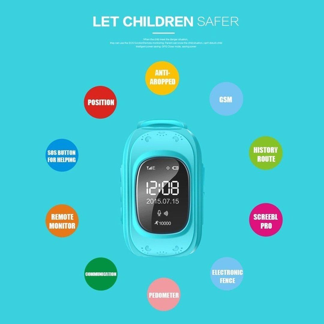 Reloj GPS Niño Inteligente Smartwatch Tracker Rastreador Localizador Anti-Lost Seguridad Niños Reloj de Pulsera SOS Llamadas SIM Podómetro Smartwatch ...