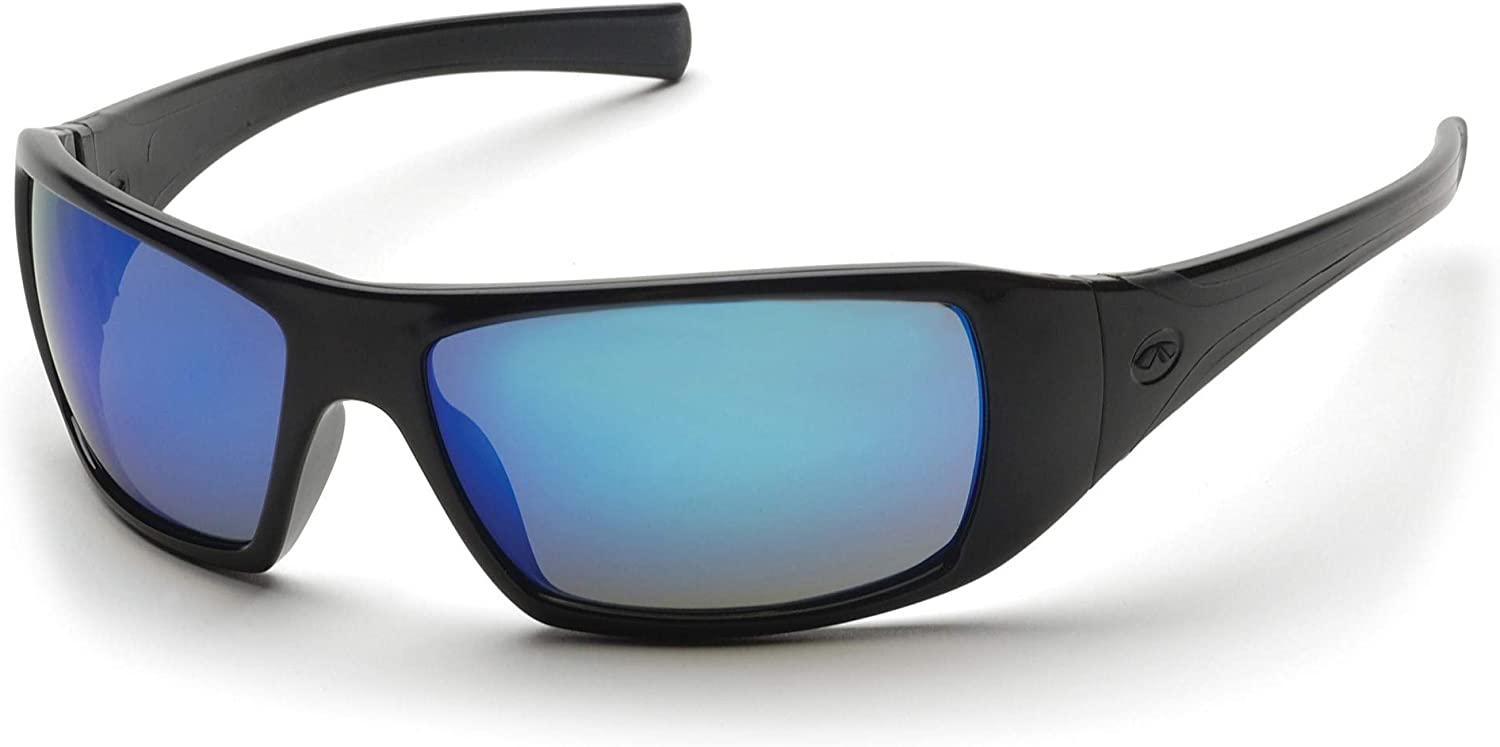 Pyramex Goliath Safety Eyewear, Black Frame, Ice Blue Mirror Lens