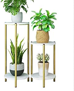 Indoor Plant Stands, Thick Pipe, Stable Load-Bearing, Used For Company Or Indoor Flower Stand, Two, Height 60Cm / 23.6 Inches, 90Cm / 35.4 Inches.