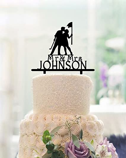 Amazon.com: Wedding Cake Toppers Bride and Groom Kiss,Golf Wedding ...