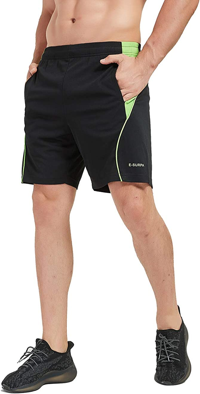 E-SURPA Mens 7 Athletic Running Shorts with Pockets Quick Dry Breathable Gym Workout Shorts