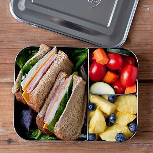 lunchbots bento trio large stainless steel food container three section des. Black Bedroom Furniture Sets. Home Design Ideas