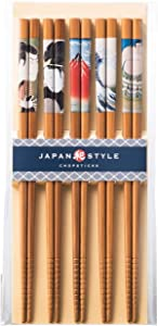 Japanese Chopsticks Japan Style Chopsticks Premium Quality Natural Bamboo Chopsticks 5 Pairs Gift Set MADE IN JAPAN … (Variation 1)