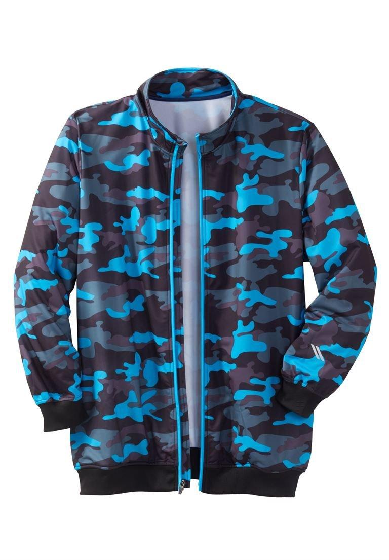 Ks Sport Men's Big & Tall Track Jacket &Trade, Electric Turquoise Camo Big-5Xl by KingSize