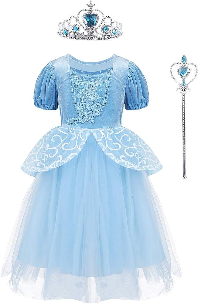 MSemis Disfraz Princesa Cenicienta para Niñas Traje Princesa con ...