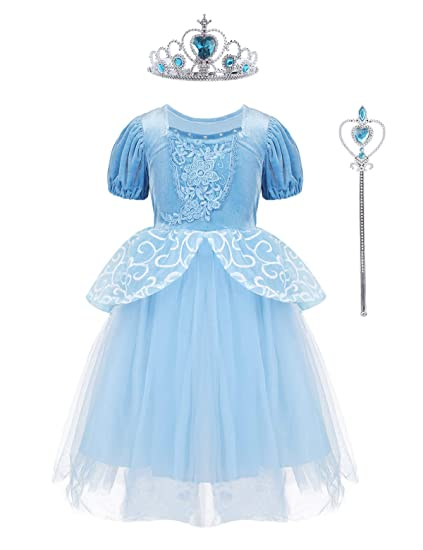 YiZYiF Disfraz Princesa Azul Niñas Vestido Lujoso de ...