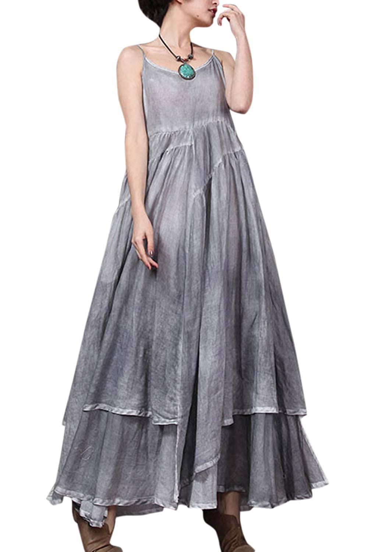 Women Vintage Dresses Cotton Linen Summer Swing Cocktail Maxi Dress