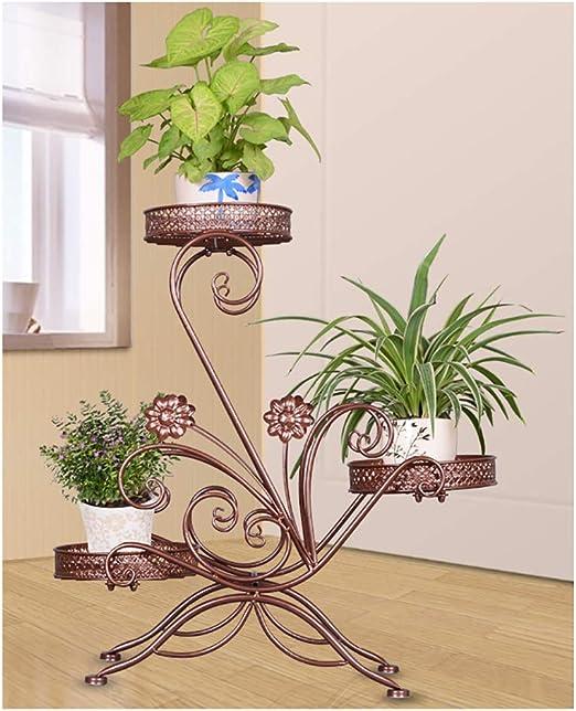 AIDELAI Aiilai - Estante para flores de hierro, creativo soporte para flores, para balcón, sala de estar, interior, marco de flores, maceta, jardín, patio, pergolas: Amazon.es: Jardín