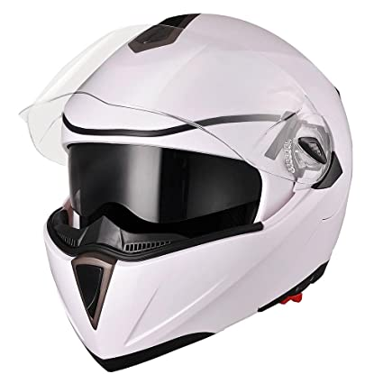 Yescom Full Face Flip up Modular Motorcycle Helmet DOT Approved Dual Visor Motocross White L