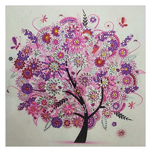 Vacally Special Shaped Diamond Painting DIY 5D Partial Drill Cross Stitch Kits Crystal Rhinestone Diamond Embroidery Arts Craft Colorful Tree Flower Wallpaper 30x30cm (B) ()