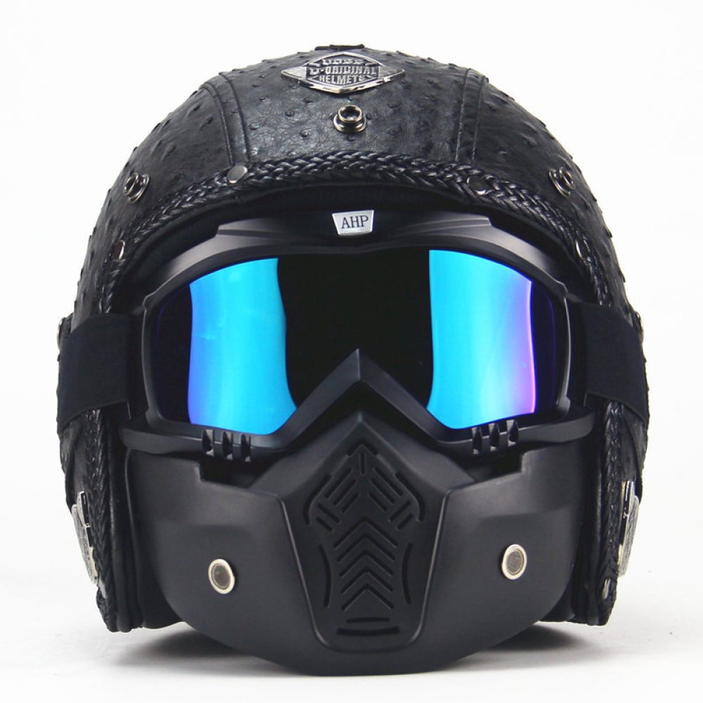 qxj Motorradhelm,PU LederHalbschalenhelm Jethelm 3//4 Cruiser Retro Helm Mit Maskenbrille M/änner Und Frauen Moped Helm,Black1-M