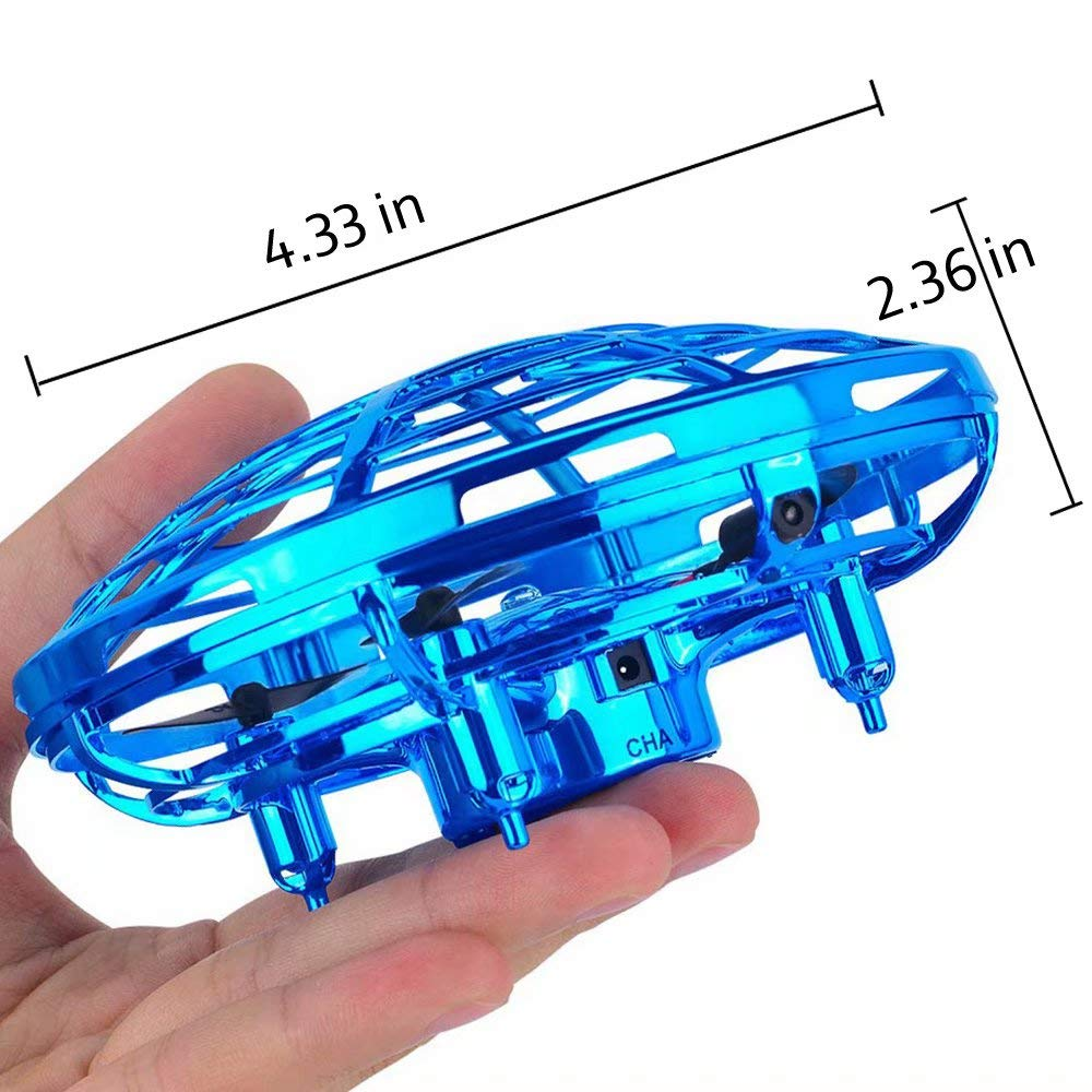 JTORD UFO Flying Toys for Kids Boys Hand-Controlled Flying Ball Interactive Infrared Induction Helicopter Ball 360° Rotating Shinning LED Lights Toys Gifts for Boys Girls Kids(Blue) by JTORD (Image #2)