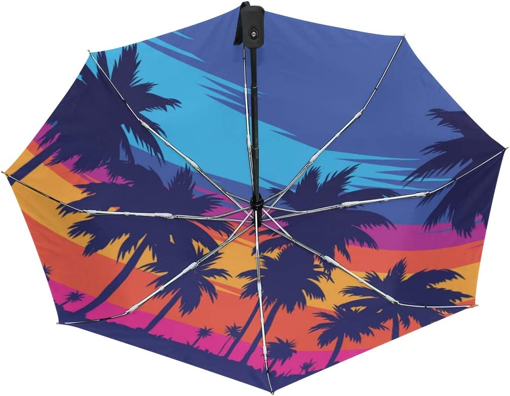 Evening On The Beach With Palm Trees Unique Novel Auto Open Close Umbrella Compact Outdoor Travel Umbrella Resistant To Wind Rain And UV