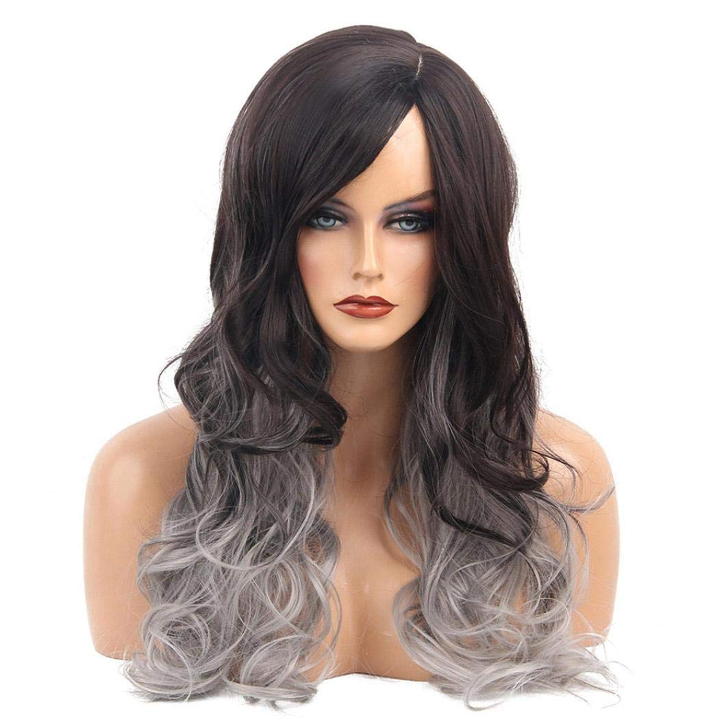 Amazon.com   Tuu Soft Natural Synthetic Wig Long Gradient Color Curly Wigs  Replacement Hair Wigs for Women Heat Resistant Fiber Hair Half Hand Tied  (Gray)   ... 344f5d35c