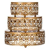#6: 3-Piece Metal Cake Stand Risers Set with Crystal Rhinestones (Gold)