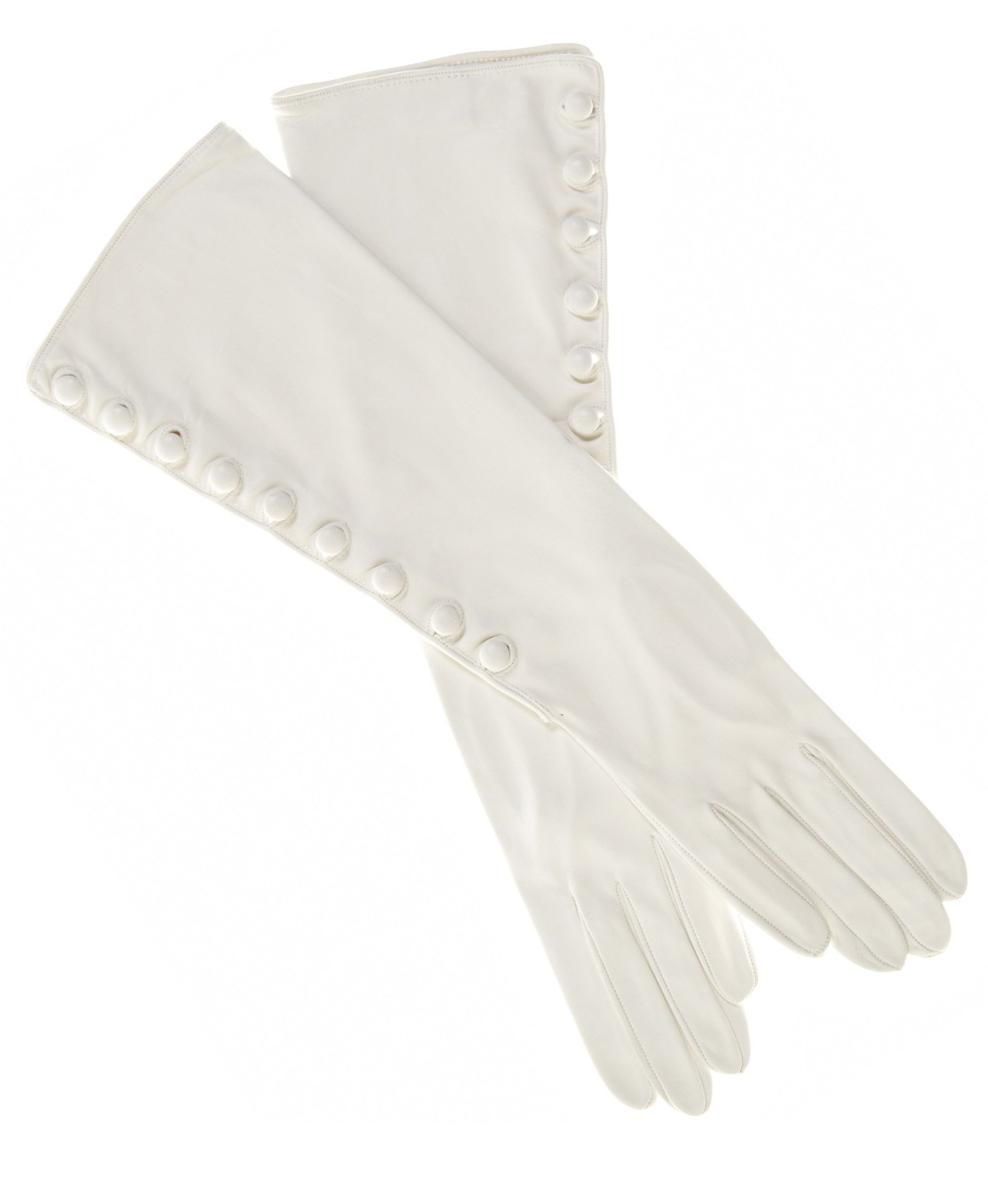 Fratelli Orsini Women's Elbow Length Silk Lined Lambskin Gloves With Buttons Size 7 1/2 Color White