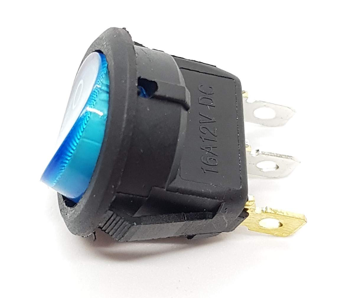 AUS 16A 12 Volt Schalter Rund Einbau mit roter Led  EIN Ø 20mm