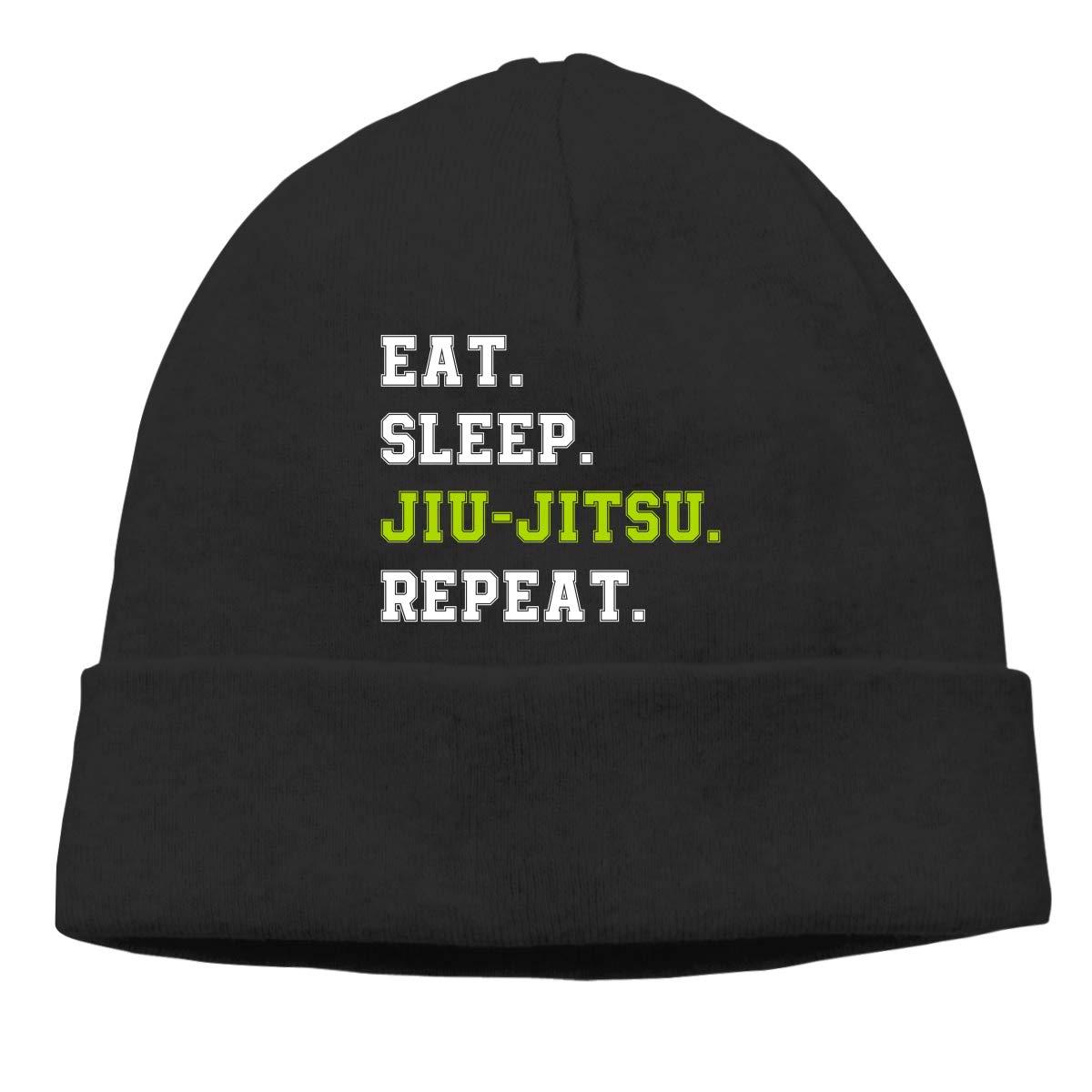 Beanie Hat Eat Sleep Jiu-Jitsu Repeat Warm Skull Caps for Men and Women