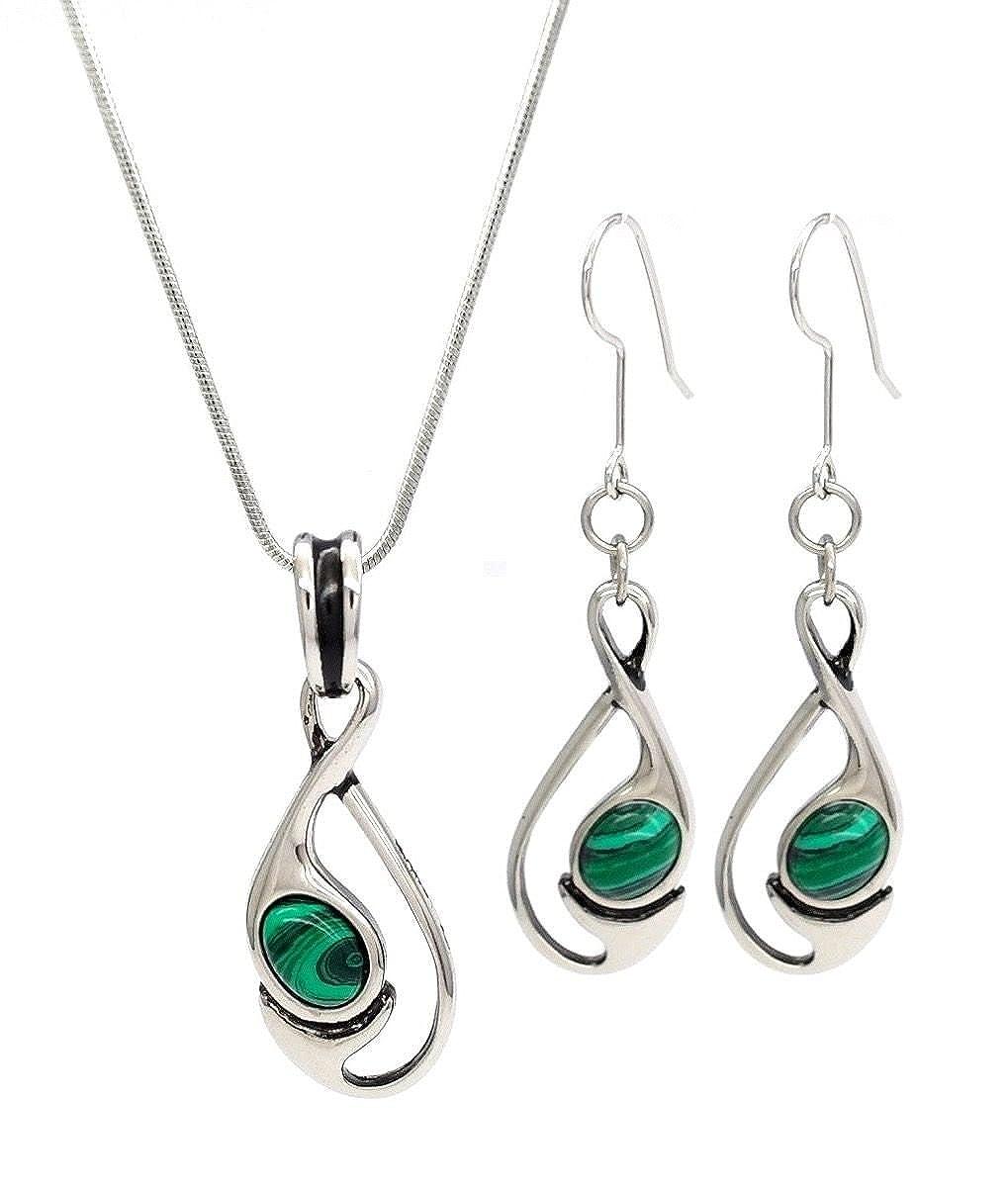 Stylish Jewellery simples élégante Malachite Pierre en forme de boucle et boucles d'oreilles pendantes Ensemble collier N16000249