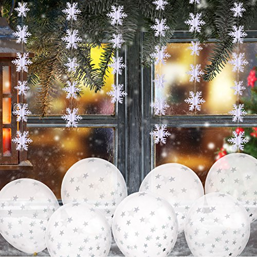 - BBTO 20 Pieces Star Balloons and 2 Pieces 9.84 Feet 3D Snowflake String Hanging Decorations for Christmas Party Holiday New Year Decoration