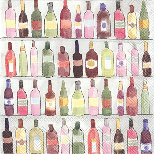 Ideal Home Range C013200 20 Count Wine Shelves 3-Ply Paper Cocktail Napkins, Multicolor