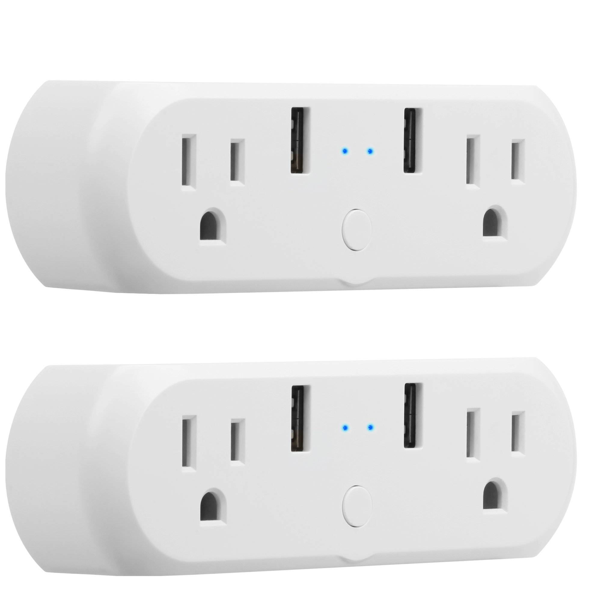 Dual Outlets WiFi Smart Plug Mini, GMYLE Power Wall Tap Socket with 2 USB Ports, Work Individually or Group, Remote Control Your Home Equipment, Works with Amazon Alexa & Google Home - 2 Packs
