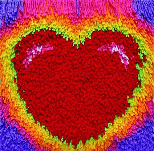 Heart Latch Hook Kit (Caron Shaggy Latch Hook Rug Making Kit Heart Glow)