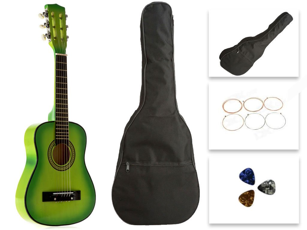 Star Kids Acoustic Toy Guitar 27 Inches Light Green with Bag, Strings & Picks, CG621-BSP-LGN