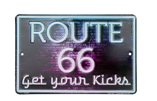 Route 66 Neon Style Cartel de Chapa Placa metal plano Nuevo ...