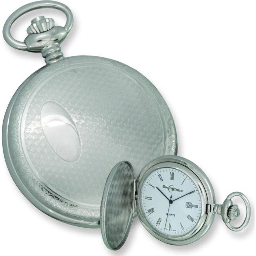 Swingtime Chrome Plated Brass Pocket Watch & Chain