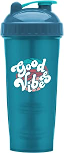 Motivational Quotes on Performa Perfect Shaker Bottle, 28 Ounce Classic Protein Shaker Bottle, Dishwasher Safe, Leak Proof, Multiple Sayings and Colors (Good Vibes - Teal - 28oz)