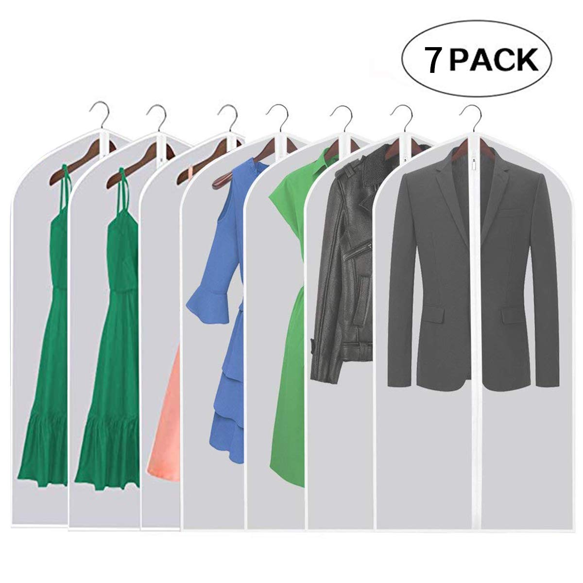 36534de62c3a Aufisi Garment Covers,Dustproof Clothes Covers Dampproof Waterproof  Washable Translucent Garment Bags with Full Zipper Dress Cover 47