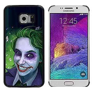 Be Good Phone Accessory // Dura Cáscara cubierta Protectora Caso Carcasa Funda de Protección para Samsung Galaxy S6 EDGE SM-G925 // Zombie Art Blue Eyes Creepy Smile Green